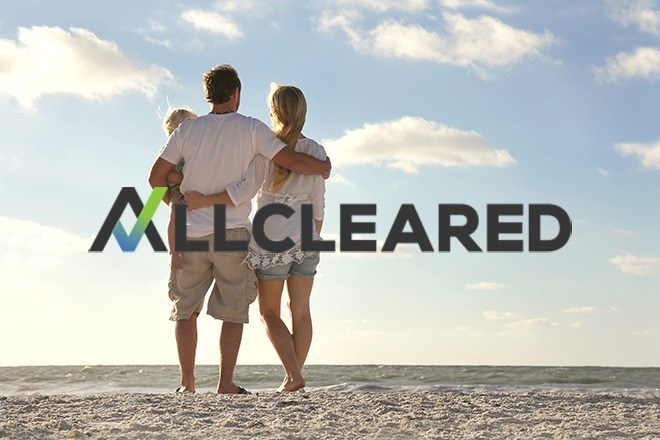 AllCleared logo superimposed on photo of family on beach